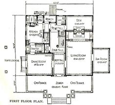 """Sears """"Magnolia"""" pre-fabricated house, ca. 1918. The floorplan for the first floor (shown here) shows how the addition to the rear of the house increased the square footage, expanded the den and the kitchen and did not diminish the home's original beauty."""