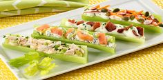 Celery Bites with Assorted Fillings - Celery tastes great with so many things. Here are a few ideas for making celery more fun and delicious with a little help from Marzetti Veggie Dips. Low Carb Recipes, Snack Recipes, Healthy Recipes, Healthy Kids, Free Recipes, Celery Recipes, Celery Ideas, Celery Snacks, Dill Veggie Dips