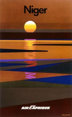 Designed by Alain Carrier, this vintage travel poster depicts the sunset in Niger.