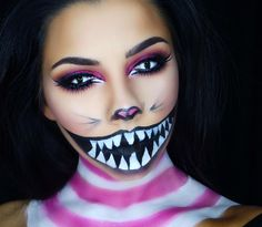 Instagram Halloween Face Paint Scary, Halloween Make Up, Halloween Face Makeup, Halloween Ideas, Cheshire Cat Makeup, Bunny Makeup, Sfx Makeup, Costume Makeup, Hair Makeup