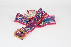 bunter vintage Gürtel, Stoffgürtel mit Holzschnalle, Hippiegürtel, Belt, Ethnostyle, mit Stickerei, Textilgürtel, Folklore