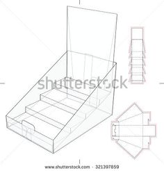 Product Display and Advertisement Cardboard Stand with Blueprint Layout