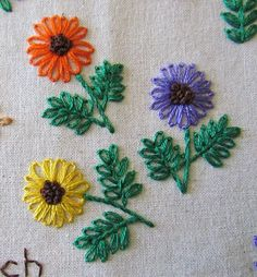 Embroidered flowers worked in