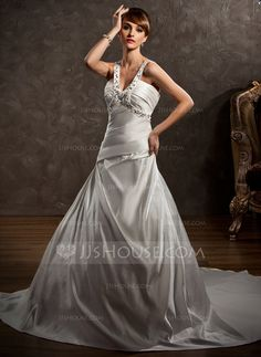 Wedding Dresses - $212.99 - Ball-Gown V-neck Chapel Train Satin Wedding Dress With Ruffle Beadwork (002000615) http://jjshouse.com/Ball-Gown-V-Neck-Chapel-Train-Satin-Wedding-Dress-With-Ruffle-Beadwork-002000615-g615