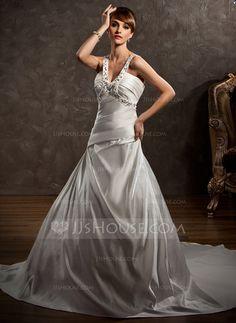 Wedding Dresses - $212.99 - Ball-Gown V-neck Chapel Train Satin Wedding Dress With Ruffle Beadwork (002000615) http://jjshouse.com/Ball-Gown-V-Neck-Chapel-Train-Satin-Wedding-Dress-With-Ruffle-Beadwork-002000615-g615