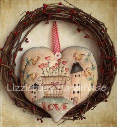 Primitive stitchery e-pattern February Love available in English or Italian. $5.00, via Etsy.