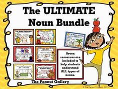 Here is the ULTIMATE noun bundle to engage your students and ensure that they fully understand all six types of nouns: common, proper, compound, concrete, abstract, and collective. It is important that students recognize all six types to fully grasp nouns (especially concrete vs. abstract), and now you can help them do just that with one, easy-to-use resource at a discounted bundle rate. It includes 7 different resources and has 143 pages. ($)
