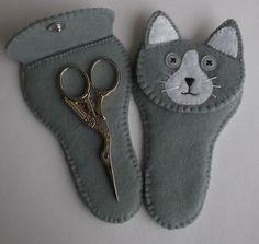 Cat  Felt Small Scissors Case by CraftyCatLadyUK on Etsy