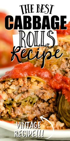 This cabbage rolls recipe is a comfort food favorite stuffed with flavorful seasoned meat and rice being topped with a homemade tomato sauce and baked. Beef Dishes, Vegetable Dishes, Vegetable Recipes, Meat Recipes, Food Dishes, Dinner Recipes, Cooking Recipes, Asian Recipes, Holiday Recipes