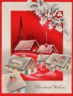 Christmas houses. Christmas Card Images, Vintage Christmas Images, Christmas Graphics, Vintage Holiday, Christmas Greeting Cards, Holiday Pictures, Christmas Town, Old Fashioned Christmas, Retro Christmas
