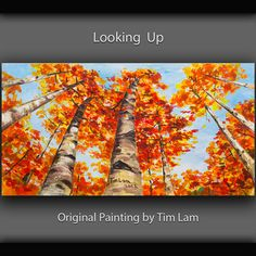 Abstract Painting Looking Up Forest Aspen Trees art Original huge modern Autumn Landscape acrylic on canvas by Tim Lam 48x24x1.5