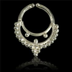 Ornamented Silver Septum For Non Pierced Nose - Body jewelry -  Hand crafted silver septum ornamented with tiny silver balls in antique Indian jewellery style.   Adjustable to all nose shapes.  $19