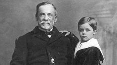 Louis Pasteur and his son Jean-Baptiste Pasteur // Pasteur's first vaccine discovery was in 1879, with a disease called chicken cholera. After accidentally exposing chickens to the attenuated form of a culture, he demonstrated that they became resistant to the actual virus. Pasteur went on to extend his germ theory to develop causes and vaccinations for diseases such as anthrax, cholera, TB and smallpox.