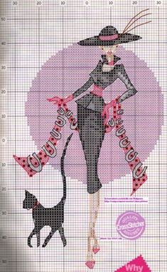 0 point de croix femme elegante et chat - cross stitch elegant lady and cat