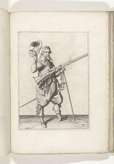 Jacob de Gheyn (II) | Soldaat op wacht die zijn musket met zijn linkerhand bij zijn rechterzijde schuin omhoog gericht vasthoudt, terwijl hij met zijn rechterhand zijn hoed afneemt (nr. 38), ca. 1600, Jacob de Gheyn (II), 1597 - 1607 | Een soldaat op wacht, ten voeten uit, naar rechts, die een musket (een bepaald type vuurwapen) bij zijn rechterzijde vasthoudt, zijn linkerhand om de vork van het furket (musketvork) waarop de loop, schuin omhoog gericht, rust (nr. 38), ca. 1600. In zijn…
