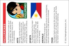 MakingFriends Facts about Philippines Printable Thinking Day fact card for our passports. Perfect if you chose Philippines for your Girl Scout Thinking Day or International Night celebration. Girl Scout Swap, Daisy Girl Scouts, Girl Scout Troop, Boy Scouts, Filipino Girl, Girl Scout Activities, Brownies Activities, American Heritage Girls, World Days