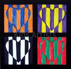 & grade Kids Artists: Op art in complementary colours--Valentine's Day art? Artists For Kids, Art For Kids, Art 2nd Grade, Grade 1, Pop Art, Classe D'art, Ecole Art, Valentines Art, School Art Projects