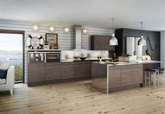 16 Vendelsö mörk drivved, Myresjökök<br>Härlig skärgårdskänsla<br>Med sitt nya kök Vendelsö mörk drivved vill Myresjökök att vi ska få känslan av ett skärgårdskök, men i ny, modern stil. Luckorna ska efterlikna drivved med sin direktlaminerade, liggande mönsterriktning och präglade yta.<br>Pris: Lucka, 59,6 × 86 centimeter, 590 kronor.