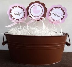 Baby Shower Centerpiece - Pink and Brown Baby Shower Decorations. $9.00, via Etsy.