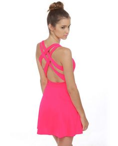 Just go ahead now: choose the Call Me Baby Neon Pink Dress! Jersey knit sweeps over bodice and around to criss-crossing back. Passion For Fashion, Love Fashion, Fashion Outfits, Dress Fashion, Teen Fashion, Dresses For Teens, Cute Dresses, Lulu's Dresses, Stunning Dresses