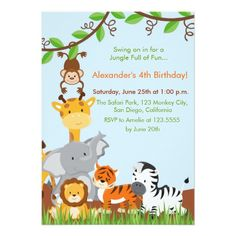 This funny Cute Jungle Animals Boy Birthday Party Invitation with adorable fun safari jungle animal is the perfect for any birthday party or special event in style. Personalize with your own special text, and use it for the party or event of your choice. Some Graphics by MareeTruelove design. at www.etsy.com/shop/MareeTruelove, by Prettygrafik design at store etsy.com/shop/Prettygrafikdesign