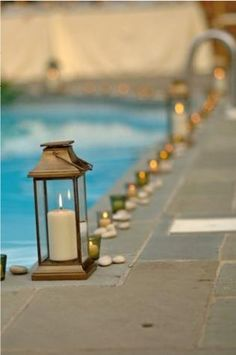 Paper lanterns strung over the pool? Pool Wedding Decorations, Pool Candles, Garden Wedding, Dream Wedding, Cool Pools, Bar Mitzvah, Event Design, Porch Decorating, Entertaining