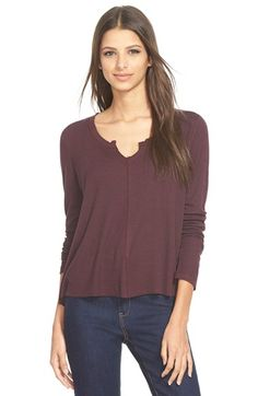 Madison & Berkeley Split Neck Thermal Tee available at #Nordstrom