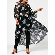 Wholesale Floral High Low Plus Size Lace Dress 5xl Black Online. Cheap Plus Size Swimdress And Plus Size Club Dress on Rosewholesale.com