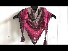 ANA LUCIA SHAWL - FREE TRIANGLE SHAWL CROCHET PATTERN - YouTube Crochet Cardigan Pattern, Crochet Shawl, Crochet Yarn, Easy Crochet, Crochet Stitches, Free Crochet, Crochet Diagram, Crochet Flower, Double Crochet