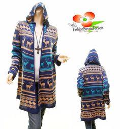 Christmas Reindeer Joys Knitwear Open Front Hooded Long Cardigan Sweater S M L