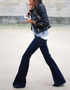 flare jeans, leather jacket