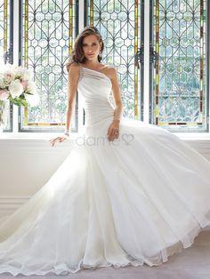 Sanduhr eine Schulter Satin Organza bodenlanges elegantes & luxuriöses aufgeblähtes Brautkleider