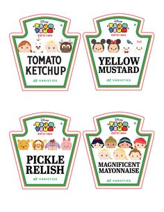 Tsum Tsum Ketchup, Mustard, Mayo and Relish Bottle Labels  These Tsum condiment labels are perfect for your Custom Tsum Tsum Birthday Party! Sure to please all the kiddos! These labels fit Heinz 20 ounce squeeze bottles or even same shaped generic 20 ounce condiment squeeze bottles.  You get all 4 labels pictured on one 8.5 x 11.0 standard sheet. Need a different size or different characters? Just contact me. Please read the Terms of Use in the Policies section before purchase.  This is a…