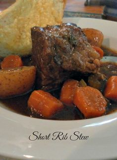 Short Rib Stew. Sunday supper never tasted so good. I adore short ribs. Good sear and then slow braised in liquid and they come out like butter! Absolutely delicious.