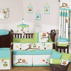 Turquoise and Lime Hooty 9 pc Crib Bedding set has all that your little bundle of joy will need. Let the little one in your home settle down to sleep in this incredible nursery set. This baby bedding set features detailed owl and tree themed appliques and embroidery works. This collection uses the stylish colors of turquoise, lime, orange, yellow, taupe, and white.