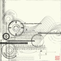 Grunge Technical Drawing Royalty Free Stock Vector Art Illustration