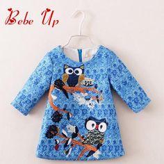 Girls Long Sleeve Designer Dresses Spring 2017 Cute Toddler Girl Clothing Children Clothes Owl Animal Print European Style
