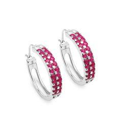 Malaika Sterling Silver 2 1/5ct Ruby Earrings, Women's