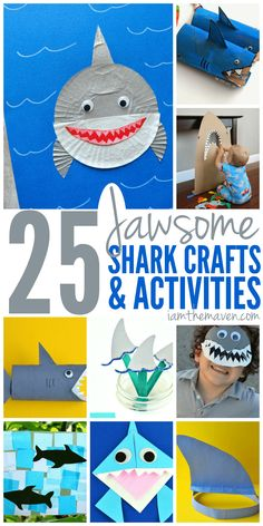 Whether you're looking for ways to celebrate Finding Dory or Shark Week, your kids will LOVE these Shark Crafts and Activities for Kids. Find your favorite shark craft on this list! They are JAWSOME! Shark Activities, Fun Activities For Kids, Preschool Crafts, Preschool Activities, Camping Activities, Shark Week Crafts, Shark Craft, Arts And Crafts Projects, Projects For Kids