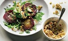Baked red onions with walnut salsa recipe, plus chicken salad with garlic and yoghurt | Yotam Ottolenghi | Life and style | The Guardian