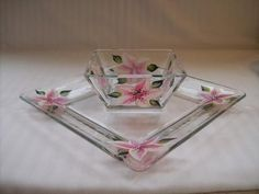 Chip and Dip Set hand painted with pink by Morningglories1 on Etsy, $25.00