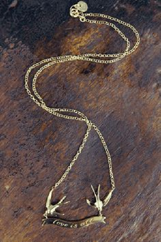 Louise Wade Handmade 'Love Is All' Swallow Necklace