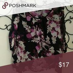 Floral shirt Sheer-ish shirt with black Cami underneath. Dana Buchman Tops Blouses