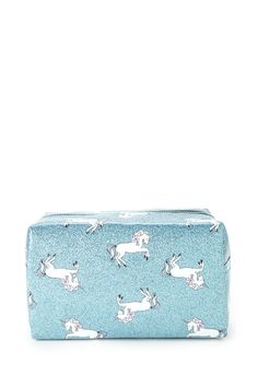 A makeup bag featuring a unicorn print, glitter design, and a zipper top.