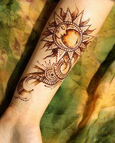 moon and sun pattern hand mehndi #DIY #tattoo #ideas