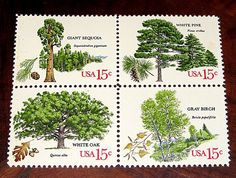 Custom order of Vintage postage stamps depicted American Trees for mailing wedding invitations. #vintagestamps, #vintagepostage, #treasurefox, #weddings, #weddinginvitationsReserved Custom Order for hanamalek .. Sold on Etsy by TreasureFox
