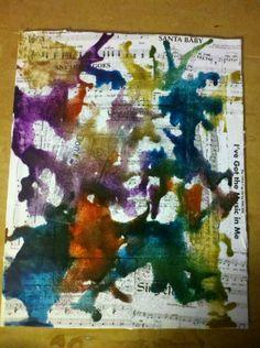 New melted crayon. Over choir sheet music
