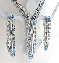 Vintage Coro Rhinestone Necklace Earrings Blue Set Signed High End Orignal Box | eBay