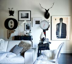 Rue {black and white eclectic scandinavian modern living room}