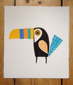 Items similar to Yellow and blue 'If you can,toucan' hand pulled screen print by Jane Ormes on Etsy Kids Art Class, Art For Kids, Coffee Artwork, Paper Animals, Bird Crafts, Kindergarten Art, Kids Prints, Simple Art, Cute Illustration